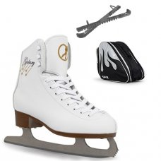 SFR White Galaxy Figure Ice Skate Package With Pro Bag & Glitter Guards - Black