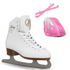 SFR White Galaxy Figure Ice Skate Package With Pro Bag & Glitter Guards - Pink