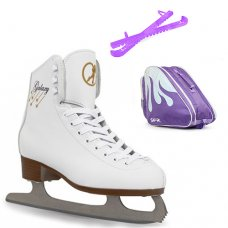 SFR White Galaxy Figure Ice Skate Package With Pro Bag & Glitter Guards - Purple