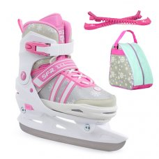 SFR Nova Adjustable Ice Skates - White/Pink Package - Bag & Guards