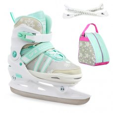 SFR Nova Adjustable Ice Skates - White/Teal Package - Bag & Guards