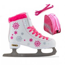 SFR Snowflake Ice Skates Junior Figure Skates with Bag & Guards