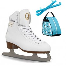 SFR White Galaxy Figure Ice Skates - With Polar Bear Bag & Guards