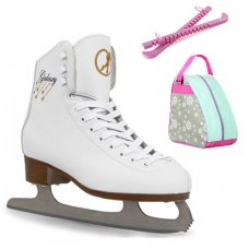 SFR White Galaxy Figure Ice Skates - With Snowflake Bag & Guards