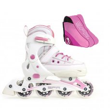SFR Camden II Adjustable Inline Skates Pink/White With Skate Bag