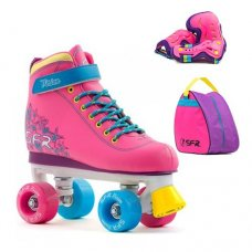 SFR Vision II Childrens Tropical Quad Roller Skates With Bag & Safety Pads