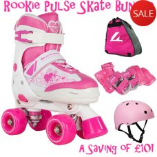 Rookie Pulse Adjustable Kids Quad Skate Bundle Pink - Saving of £10