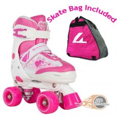 Rookie Pulse Adjustable Kids Quad Roller Skates Pink with Skate Bag