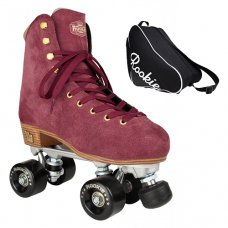 Rookie Classic Quad Roller Skates Burgundy Suede With Rookie Bag