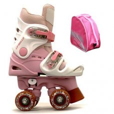 Ventronic Rollo Adjustable White/Pink Quad With Skate Bag
