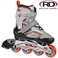 Stingray R7 Adjustable In-Line Roller Skate - Grey/Orange