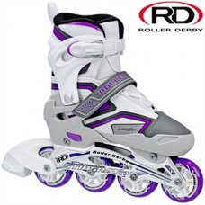 Stingray R7 Adjustable In-Line Roller Skate - White/Lilac
