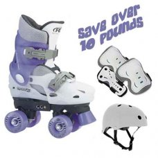 Adjustable Kids Quad Skates Bundle, Lilac/White SAVE OVER £10