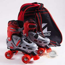 SFR Hurricane Kids Adjustable Quad Roller Skates Red With Skate Bag