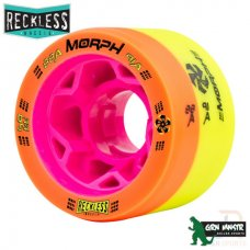 Reckless Morph Dual Durometer 59mm 88A/91A Quad Skate Wheels Orange/Yellow (Pack of 4)