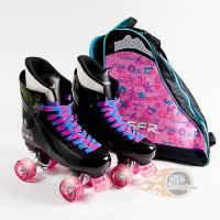 Ventro Pro Turbo Quad Roller Skates - Pink Glitter Light Up Flashing Wheels Package