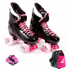 Ventro Pro Turbo Quad Skate - Pink Package with Skate Bag